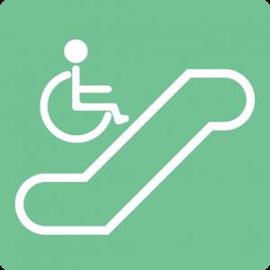 車椅子対応のエスカレーターがある